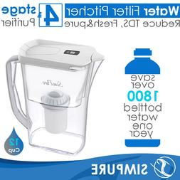 12 Cup 4 Layer Larger Water Filter Drinking Pitcher BPA-Free