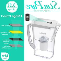 12 Cup 4 Stage Water Filter Pitcher Purifier Reduce TDS Remo