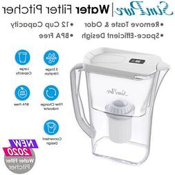 12 Cup Larger Water Filter Pitcher BPA-Free Purifier Reduce