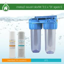 """2 Stage 10"""" Whole House Water Clear Filter Housing Sediment"""