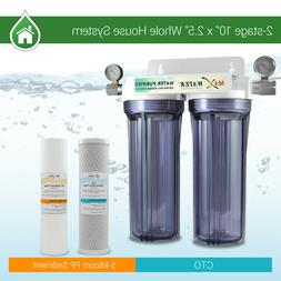 """2 Stage10"""" Whole House Water Clear Filter Housing Sediment C"""