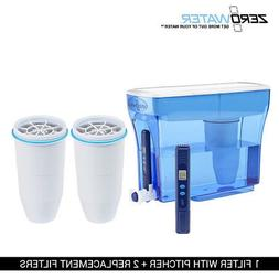 Zero Water 23-Cup Ion Exchange Water Dispenser Pitcher & 2 R