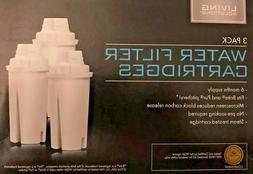 3 PACK LIVING SOLUTIONS WATER FILTER CARTRIDGES NIB FOR BRIT
