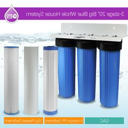 """3 Stage 20"""" Big Blue Whole House Water Filter System 1"""" or 3"""