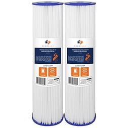 "2-PACK Of 5 Micron Big Blue 20"" x 4.5"" Pleated Washable Sedi"