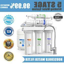 100GPD 5 Stage Under Sink Reverse Osmosis System Drinking Wa