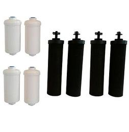 Four Black Berkey  Replacement Filters & Four Berkey Fluorid