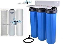 "BIG BLUE 20"" WATER FILTER SYSTEM 1"" WITH FILTERS-TRIPLE WHOL"