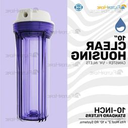 """Clear 10"""" Universal Water Filter Housing Canister - 1/4"""" Inl"""