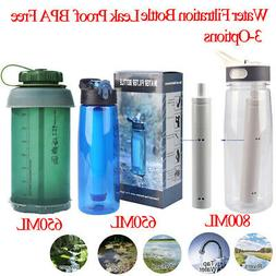 Filter Water Bottle 3-Stage 800/650ml Hiking,Camping,Travel,