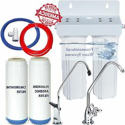 Fountainhead 2 Stage Water Filter System 2 Sets Fluoride//Arsenic//Chloramine