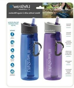 LifeStraw Go Travel Water Filter Bottle | Purple Blue | 2 Pa