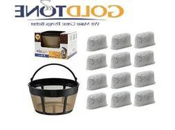 GoldTone 8-12 Cup Basket Coffee Filter & 12 Carbon Water Fil