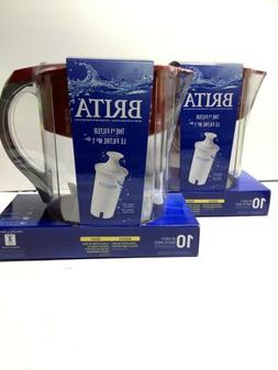 Brita Grand Water Filter Pitcher, Red, 10 Cups