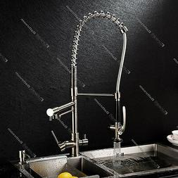 High Pressure Brushed Nickel 3Way Faucet Kitchen Mixer Drink
