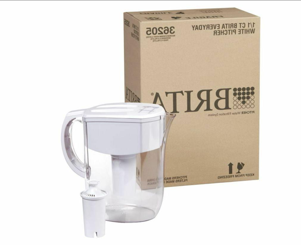Brita Cup Water Pitcher Filtration with 1 Filter, White
