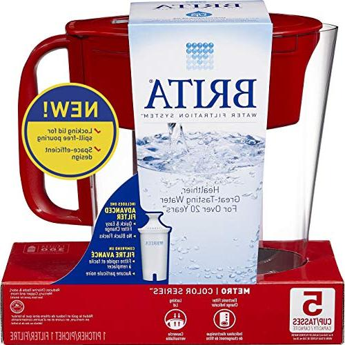 Brita Small Water Pitcher 1 Filter, BPA Free Red