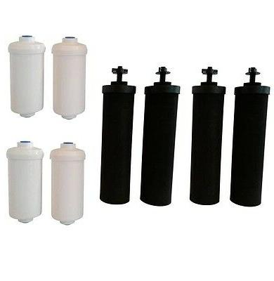 Four Black Berkey  Replacement Filters & Four Berkey Fluorid