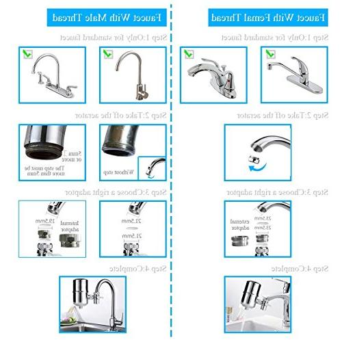 Engdenton Faucet Stainless-Steel Reduce High Water Flow, with Ultra , Water Filters Faucets-Fits