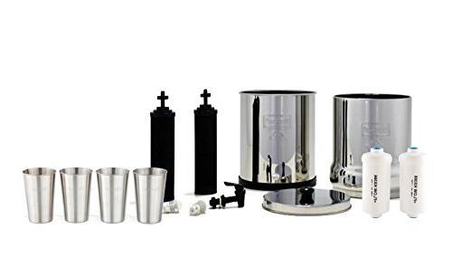 Boroux Berkey Water w/ 2 Black of Fluoride 1-Set 4 oz Stainless Steel