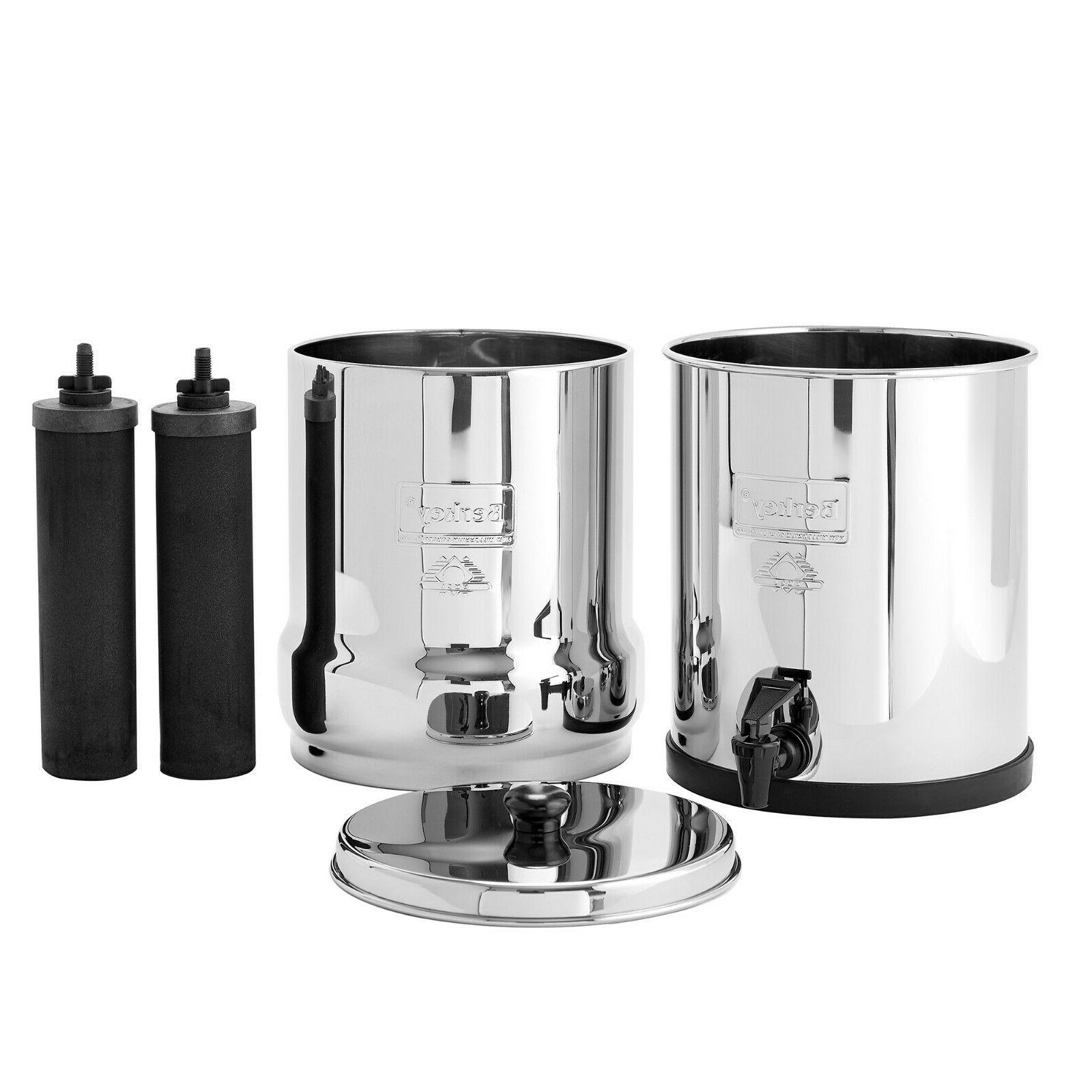 Big Berkey Water Filter w/ 2 Black Berkey Purifiers - NEW