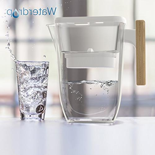 Waterdrop Extream Long-Lasting , BPA Filter Pitcher with Wooden Handle - Harmful Contaminants Sediments Water