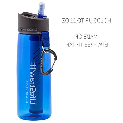LifeStraw Go Water Bottle with 2-Stage Filter Straw for Backpacking,