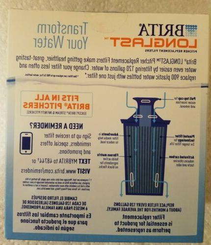 Brita Longlast Pitcher Replacement Filter, gallon Filter, BPA-Free,