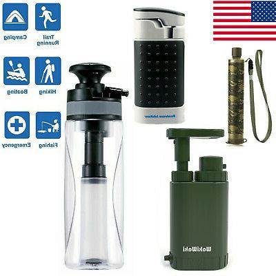 portable survival water filter purifier drinking camping