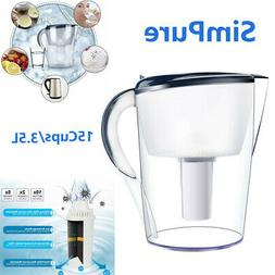 Large 15 Cup Stream Filter Water Pitcher BPA Jug Purifier 3.
