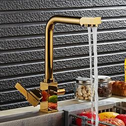 Luxury Gold Kitchen Sink Mixer Faucet Single Hole Swivel Spo