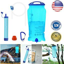 Outdoor Gravity Survival Water Filter Straw Travel Camping H