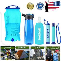 Portable Survival Water Filter Straw Purifier Bottle Camping