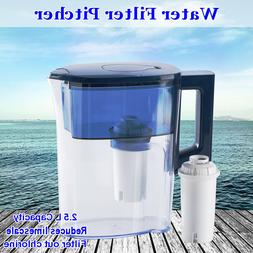 Portable Water Filter Pitcher Kitchen Coolers 2.5L Large + F