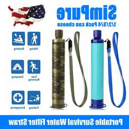 SimPure Portable Water Filter Straw Purifier Emergency Survi