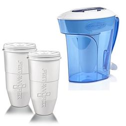 ZeroWater 10-Cup Pitcher with 3 Replacement Filter and Free