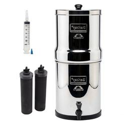 Berkey Stainless Steel Water Filtration System with 2 Black