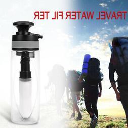 Travel Water Filter Purifier Bottle w/ 0.1 Micron Ceramic Ca