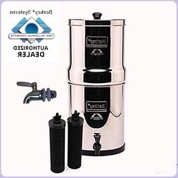 Travel Berkey Water Filter Purify w 2 Black Filters and Stai