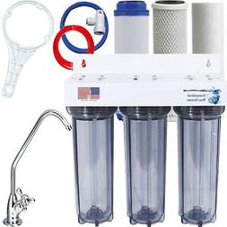 UNDER SINK FILTER SYSTEM CLEAR 3 STAGE WATER FILTER SEDIMENT