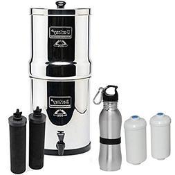 Premium Travel Berkey Water Filter Bundled with 2 Black Berk