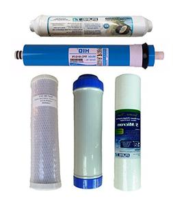 Water Filter Set with RO Membrane, 75 GPD Membrane, for 5 St