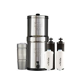 Bundle: Travel Berkey Water Filter System with 2 Black Purif