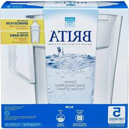 Brita Water Filtration 5 Cup Slim BPA Free Water Pitcher wit